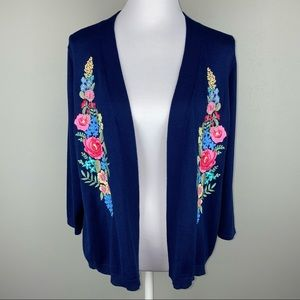 Embroidered Floral Open Cardigan